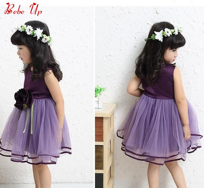Children Flower Floral Appliques Clothing Kids Girls Baby O-Neck Sleeveless Summer Birthday Party Dress Toddler Princess Clothes