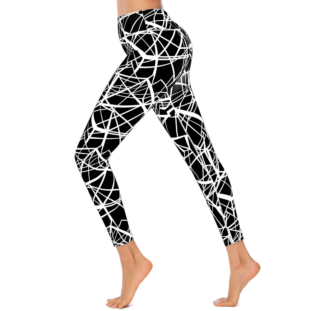 Fccexio Women Striped Geometric Digital Printing Leggings High Waist Stretch Fitness Trousers Girls Patchwork Back Sexy Legging