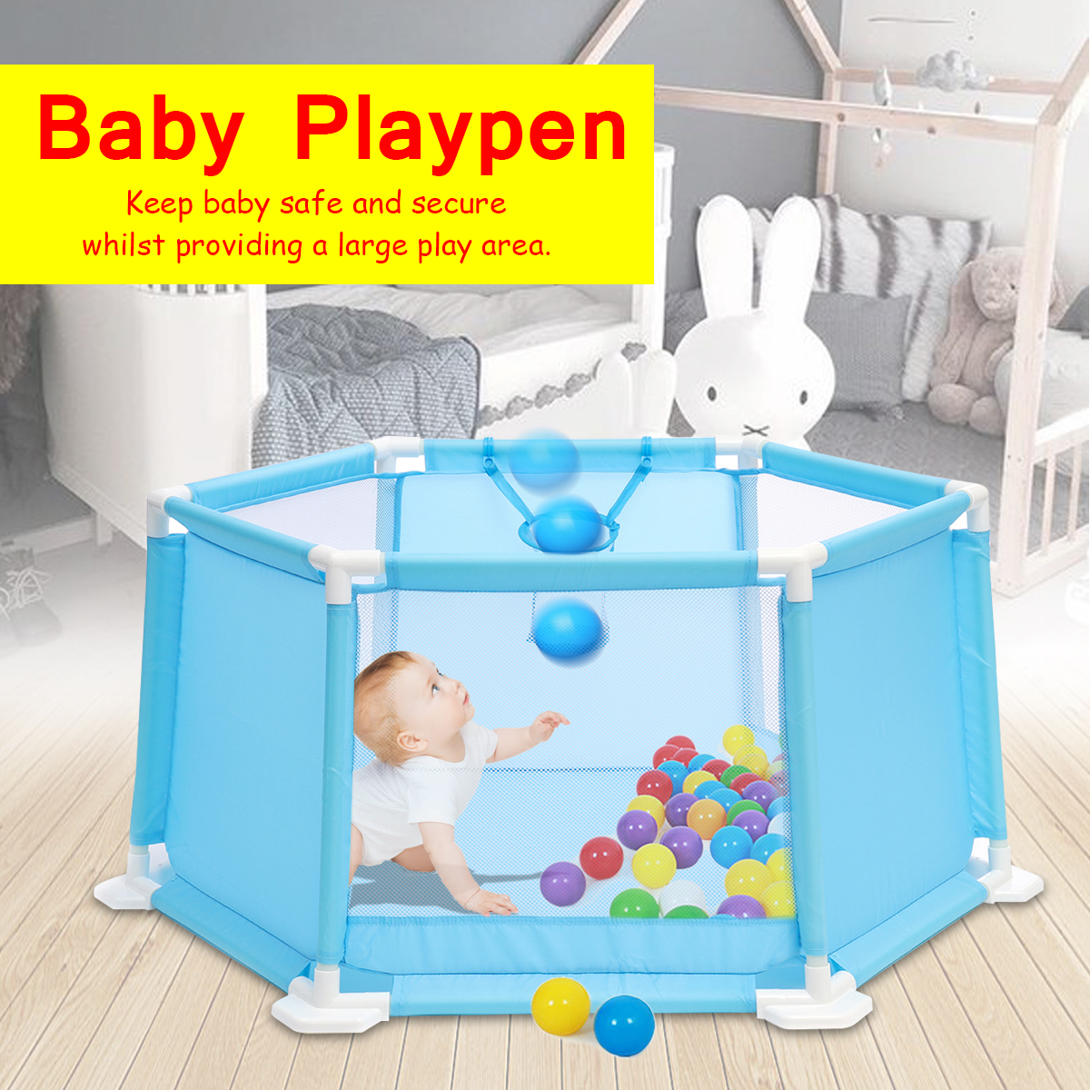 Play Center Yard Fence+50Pcs Balls Baby Playpen Kids 6 Panel Safety Protection 110x49x51cm Integrated Rubberised Feet Convenient