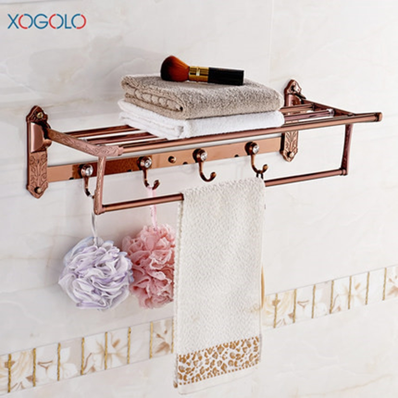 Xogolo Zinc-Alloy Folding Fashion Rose Gold Wall Mounted Bathroom Towel Rack Towel Holder Accessories оскар за толерантность и терпение