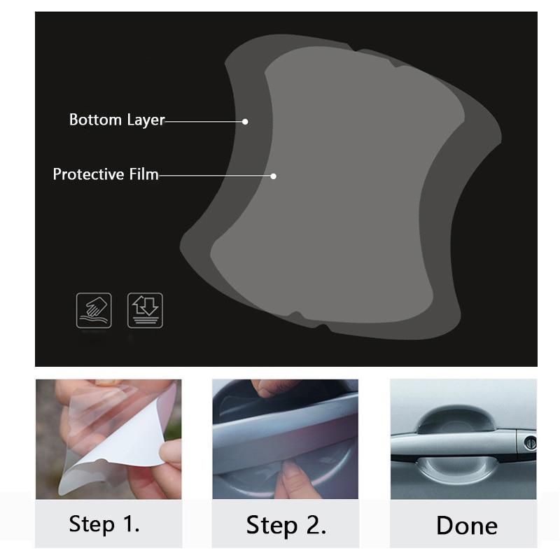 5Pcs/Set Transparent Car Handle Protective Film Car Door Stickers On Car Vinyl Anti-Scratch Resistant Sicker Car Accessory Auto