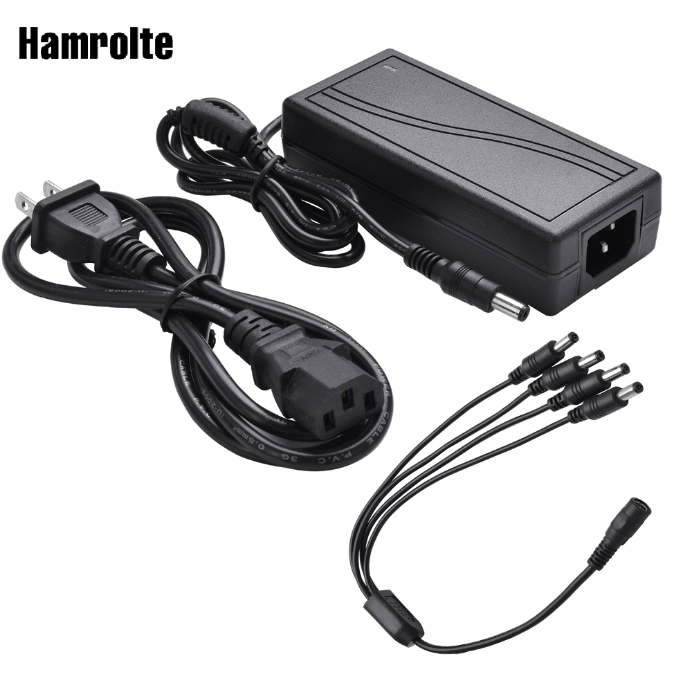 Hamrolte Converter Adapter AC 100-240V to DC 12V 5A Power Supply Adapter With 1 to 4 Power Splitter For Security Camera System high quality 65w 20v 4 5a power adapter w ac power cable for fujitsu laptops black 100 240v