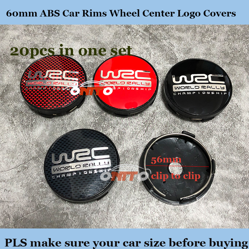 <font><b>20pcs</b></font>/lot ABS blackground 60mm label Car Rims Wheel hub Caps For WRC Car LOGO Badge Emblem Covers Auto accessories Base image