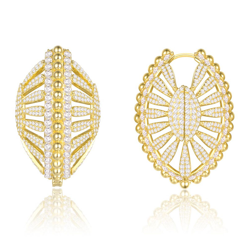 SLJELY High Quality 925 Sterling Silver Yellow Gold Color Fan Shell Oval Earrings 5A Cubic Zirconia