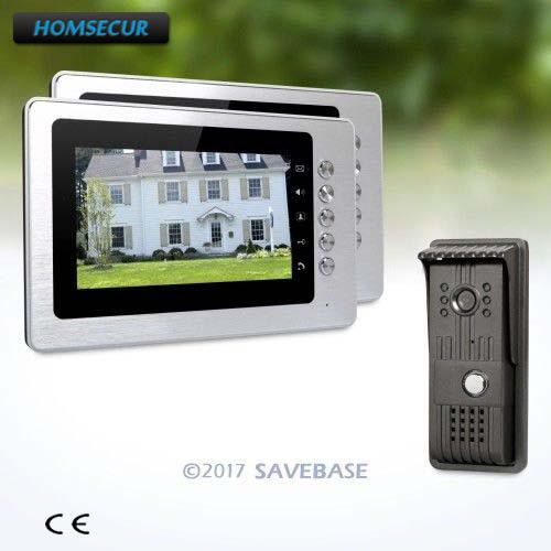 HOMSECUR Wired 7inch Wired Video Door Entry Security Intercom with Mute Mode for Home Security + 1 Camera + 2 Monitors