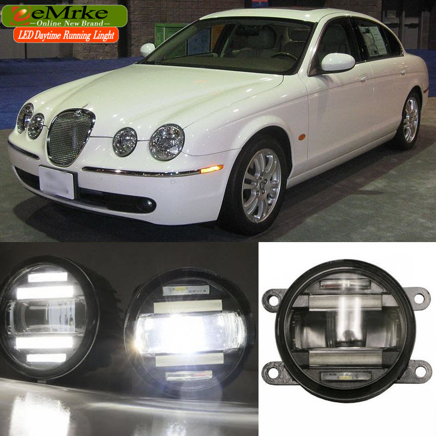 eeMrke Car Styling For Jaguar S-type S Type 2004 - up 2 in 1 LED Fog Light Lamp DRL With Lens Daytime Running Lights for jaguar s type 1999 2008 led lamps fog light lights car styling 1 set
