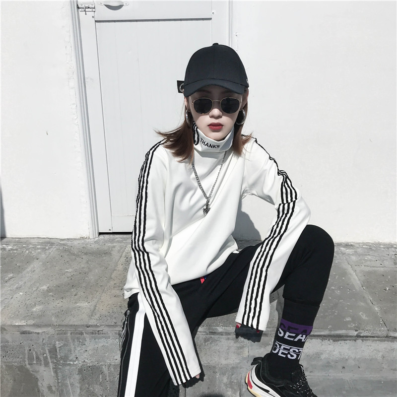 T-shirts Women Long Sleeve Turtleneck Striped Letter Embroidery Harajuku Womens Loose T-shirt Trendy Chic Korean Style All-match 16