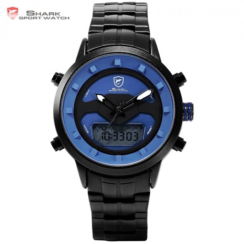 Реквием Shark спортивные часы синий двойной время календарь сигнализации Chrono цифровой водонепроницаемый сталь Ремешок кварцевые мужские час...