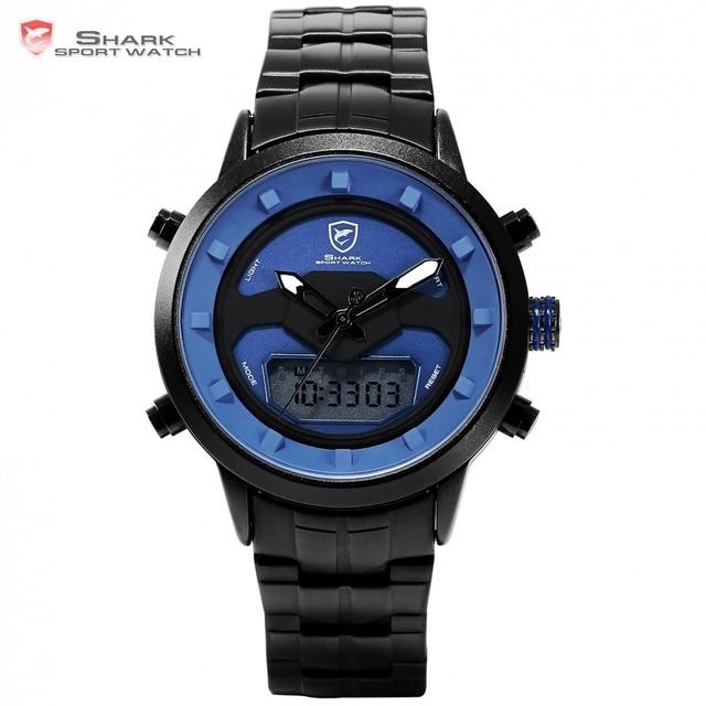a57a4f1bf31 Requiem Tubarão Relógio Do Esporte Azul Dupla Tempo Calendário Alarme Crono  Homens Cinta de Aço de