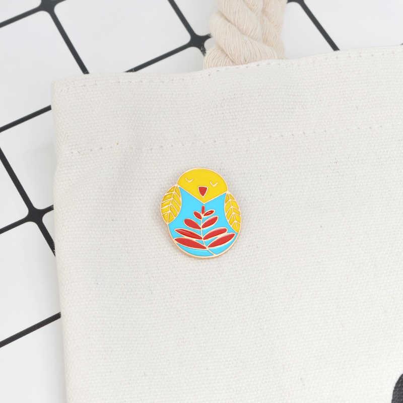 Lucu Burung Cabang Daun Bros Burung Hantu Anak Burung Tumbler Enamel Pin Jaket Denim Cinta Ibu Anak Cartoon Ibu Fashion Perhiasan hadiah