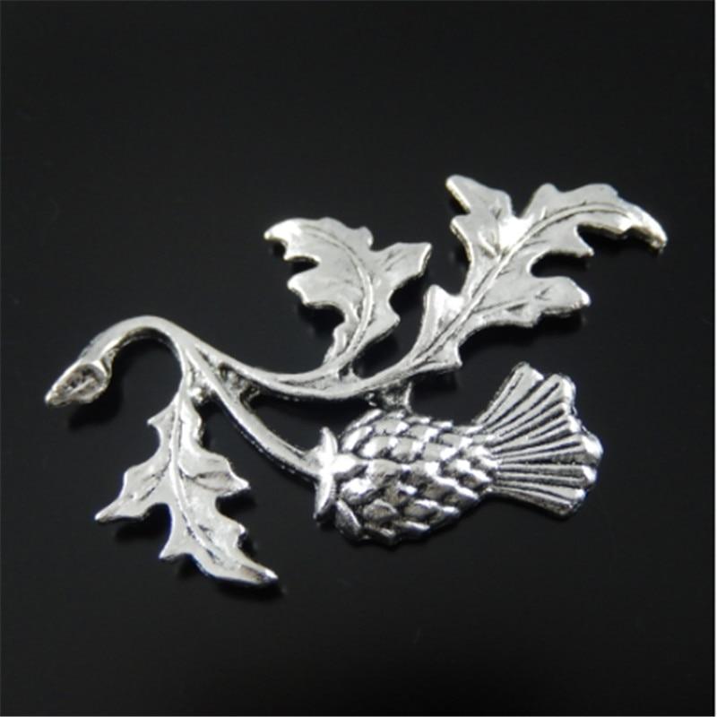 (20 Stück) Mann Top Antiqued Silber Blatt Vintage Halskette Anhänger Ton Legierung Distel Pflanzen Schmuck Erkenntnisse 47*32*2mm Au32136 ZuverläSsige Leistung