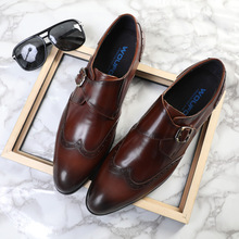 QYFCIOUFU Luxury Brand Mens Genuine Leather Dress Shoes Fashion Mens Social Shoes Business Office Buckle Male Wedding Shoes