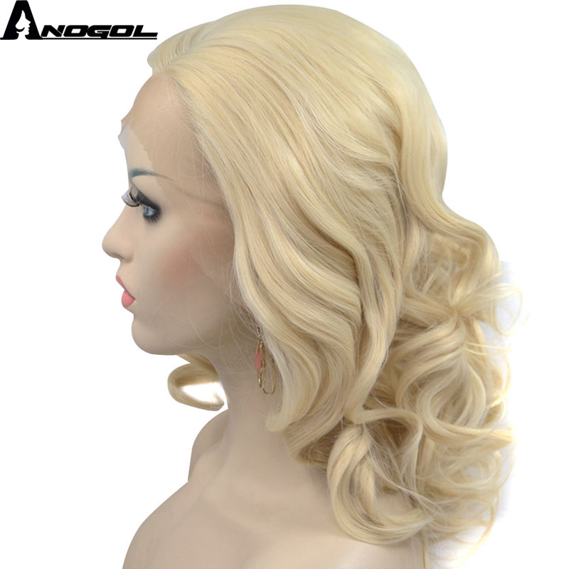 Anogol Side Part Natural Short Wavy Bob High Temperature Fiber Blonde Synthetic Lace Front Wig For Women