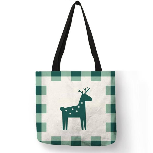 Ins мода животных сумка с принтом для Для женщин девочек северных оленей узор медведь многоразовые сумки для покупок тканевая сумка