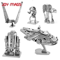 JOY MAGS Star Wars Millennium Falcon Metal Earth R2D2 Robot Troop dog  Rebels Shuttle 3D Metal Model Kit