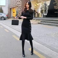 2018 dress winter new women's Korean version of the self cultivation fashion casual knit long bottom dress
