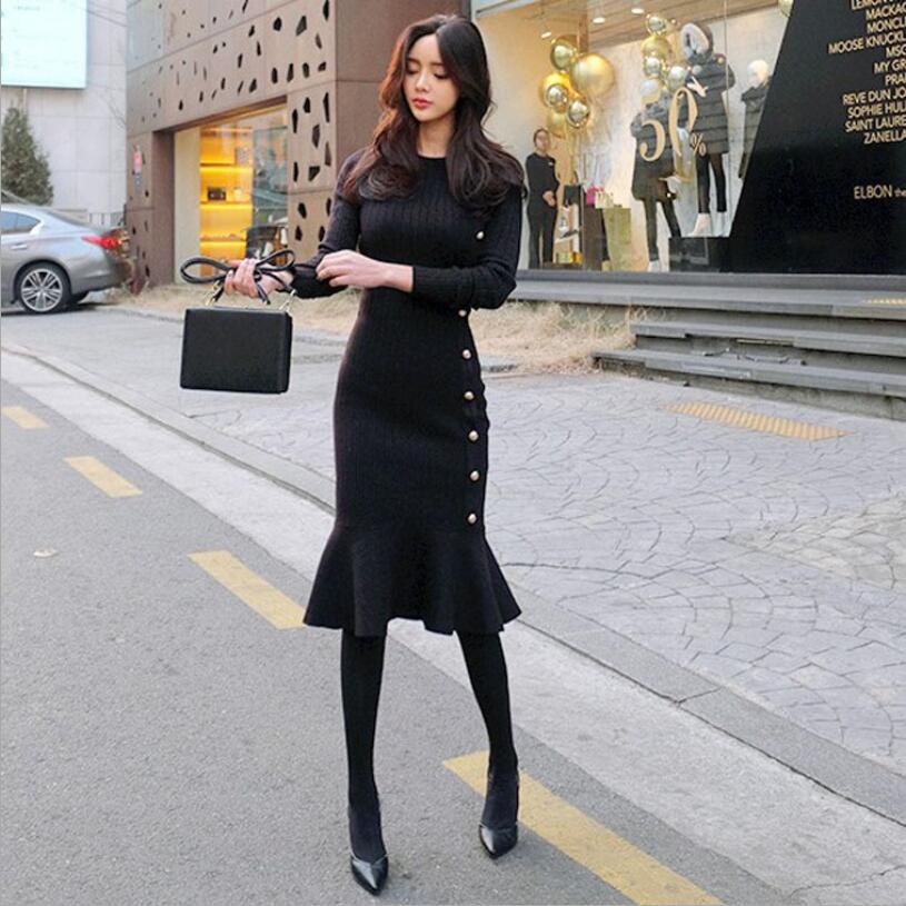 2018 robe hiver nouvelle version coréenne des femmes de la mode auto-culture décontracté tricot longue robe à fond