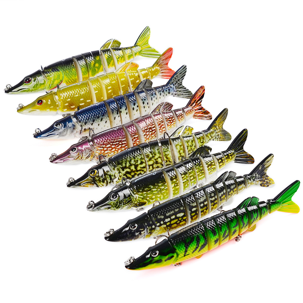12.5cm/20g Artificial Fishing Lure Bait 3D Eyes 9 Segments 2 Hooks Fish Lures Sea Fishing Crankbait Swimbait Tackle 4# Newest 1pcs 16 5cm 29g big minnow fishing lures deep sea bass lure artificial wobbler fish swim bait diving 3d eyes