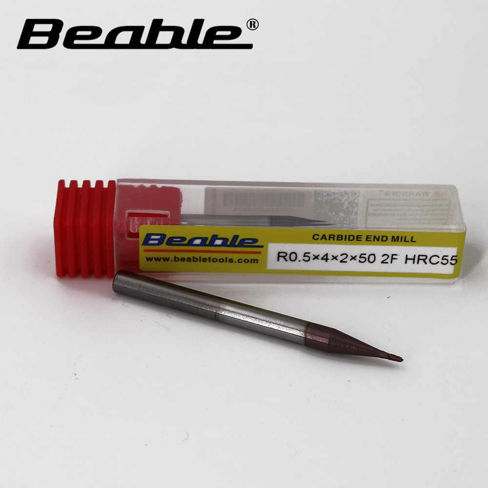 R1 * 4*4*50 MM 2 Flauto HRC55 1 PZ Carbide end mill tornio CNC strumento taglierina indicizzabili fresa frese per legno