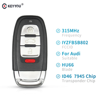 KEYYOU 3+1 Button For Audi A3 A4 A5 A6 A8 Quattro Q5 Q7 Key Fob Smart Remote Key 315Mhz ID46 Chip FCC ID: IYZFBSB802 2009-2015