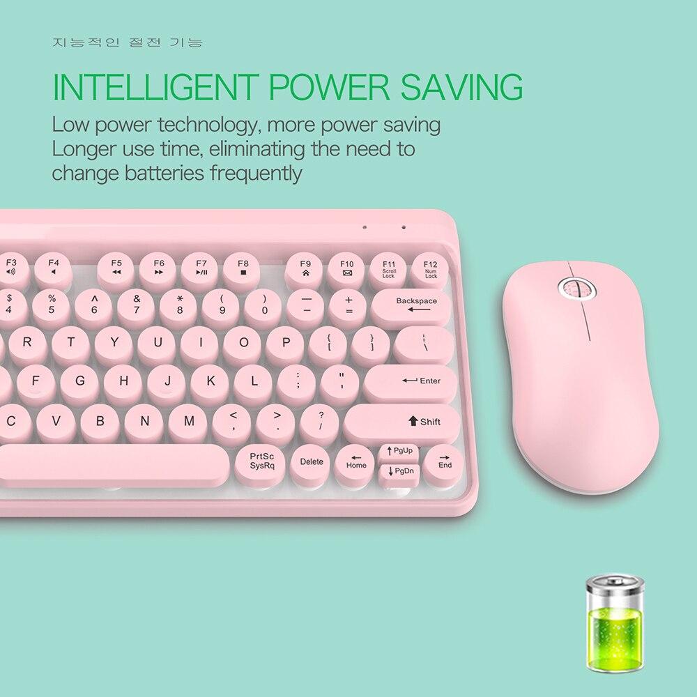 מוצרי חשמל לבית מקלדת ורודה חמודה ועכבר אלחוטי פאנק רטרו עגול מפתח Cap 77 מפתחות מקלדות מקלדת מולטימדיה האלחוטית מחשב נייד PC (4)