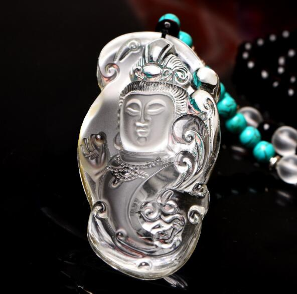 Drop shipping Original design long sweater chain white crystal large guanyin necklace pendant