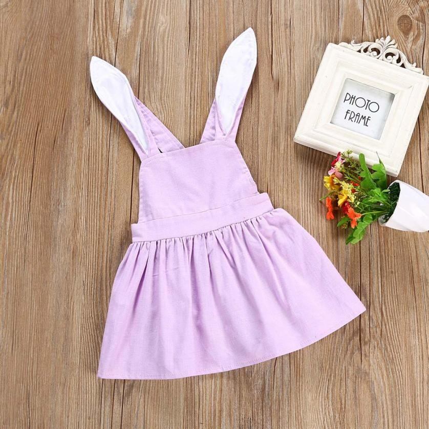 MUQGEW Baby Girls Cute Easter Clothes Rabbit Ear Backless Dress Outfits Clothes 1 Year Birthday Dress Vestido Para Bebe yr1