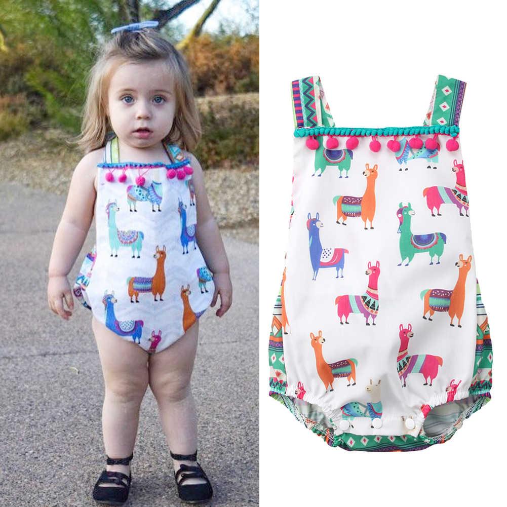 Милый комбинезон с принтом овечки для маленьких девочек, комбинезон принцессы с кисточками, цельный Солнечный костюм с открытой спиной, летняя одежда для маленьких девочек 0-24 мес. CXD0