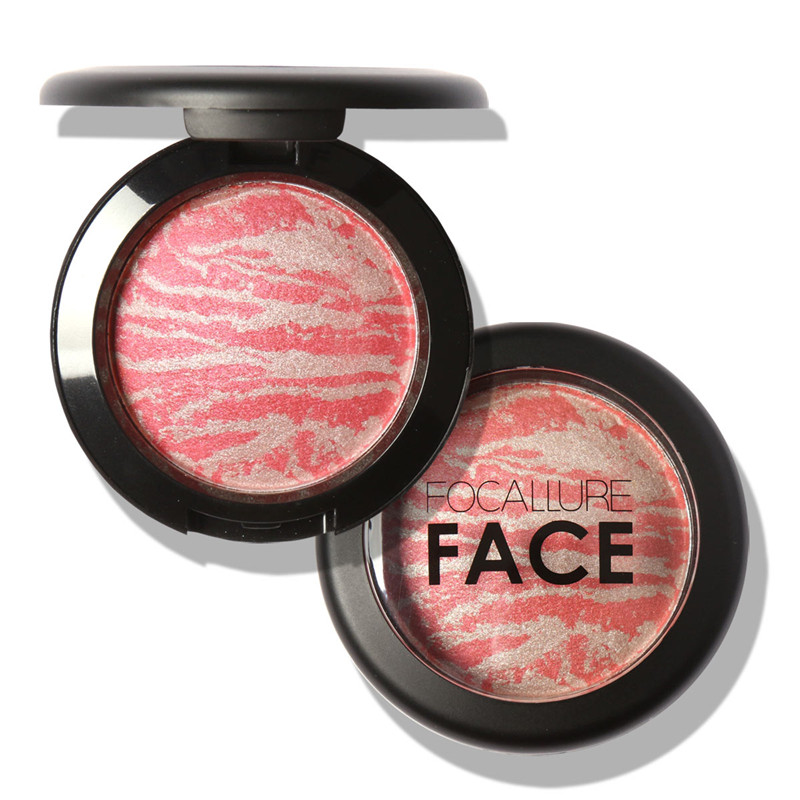 Focallure Top Quality Professional Cheek Blush 6 Colors Makeup Baked Blush Bronzer Blusher With Brush drop shipping