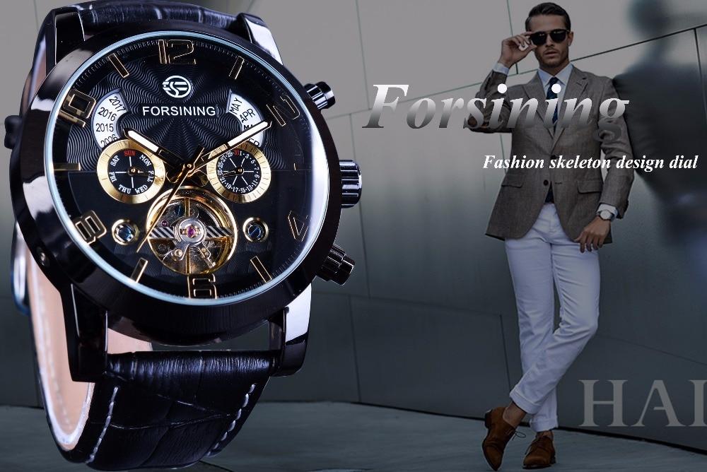 Forsining Tourbillion Fashion Wave Reloj de oro negro Pantalla - Relojes para hombres - foto 2