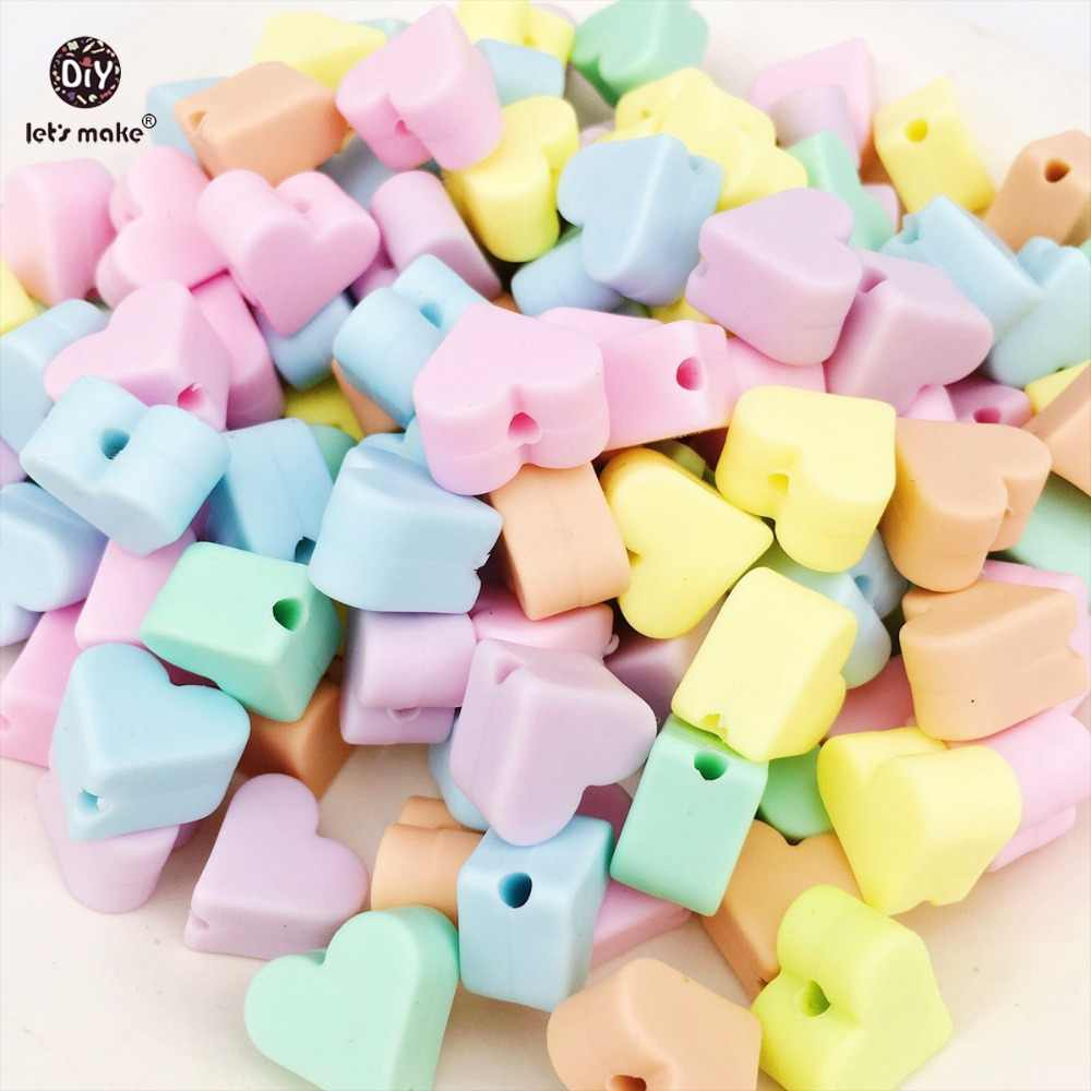 בואו לעשות סיליקון Teether 50pcs צבעים בוהקים לב מזון כיתה Diy בקיעת שיניים Nceklaces תכשיטי אביזרי תינוק Teether כוכב
