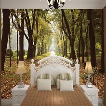 Customized 3D mural wallpaper medium-size oil painting with forest path pattern as vertical background the corridor screen