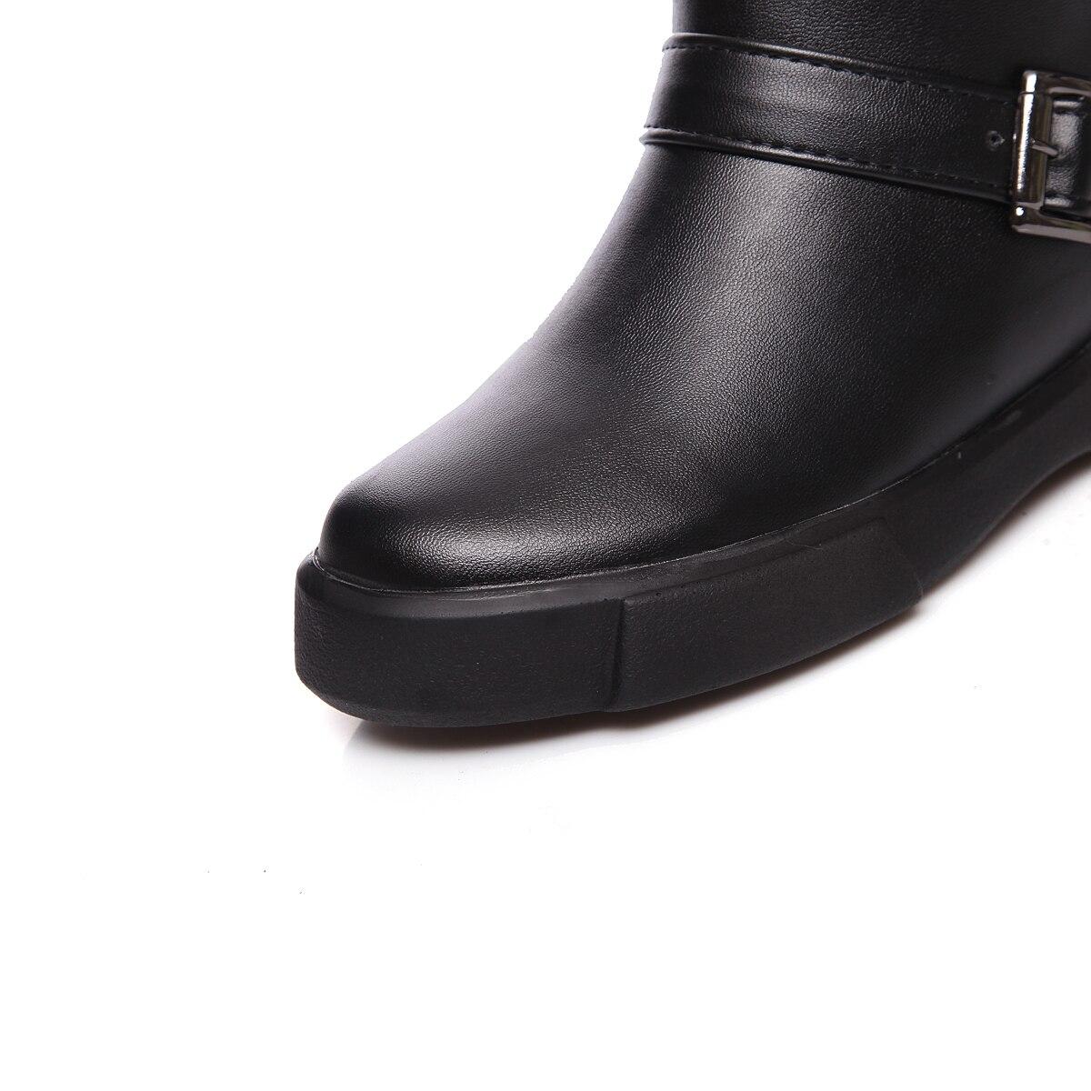 Dicke Runde Leder Plüsch Pu Für Schuhe Frauen Heels Stiefel Kappe Knie 2018 Schnee Neue Esrfiyfe Solide Plattform Winter weiß Frau Warme Schwarzes qn7pf4Czw