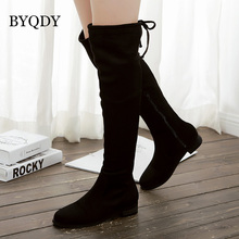 BYQDY 2018 New Spring Autumn Ladies Shoes Party Women Boots Low Heel Over the Knee High Suede Platform Black Winter