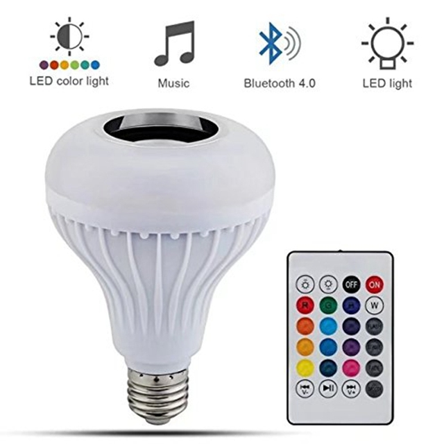 Wireless LED Light Bulb Speaker RGB Smart Music Bulb E27 Base Color Changing with Remote Control for Party Home Decorations DIY
