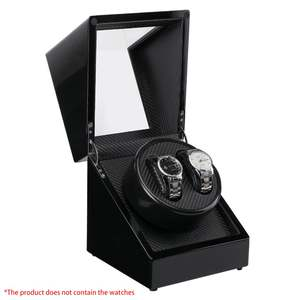 GENBOLI Watches-Box Piano Winders Display Wooden Carbon-Fiber Double-Watch Black Motor-Storage