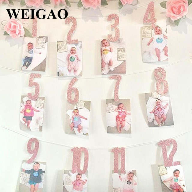 Placeholder WEIGAO Baby Shower Photo Frame Banner First Birthday Decorations 1st Boy Girl My 1 One