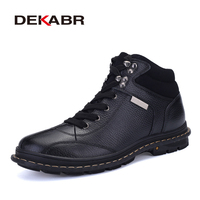 DEKABR Genuine Leather Snow Boots For Men New Winter Waterproof Shoes Short Plush Luxury Brand Working