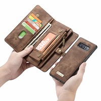For Coque Samsung Note 8 Case Zipper Wallet Folio Magnetic Cover Retro Genuine Leather Case For