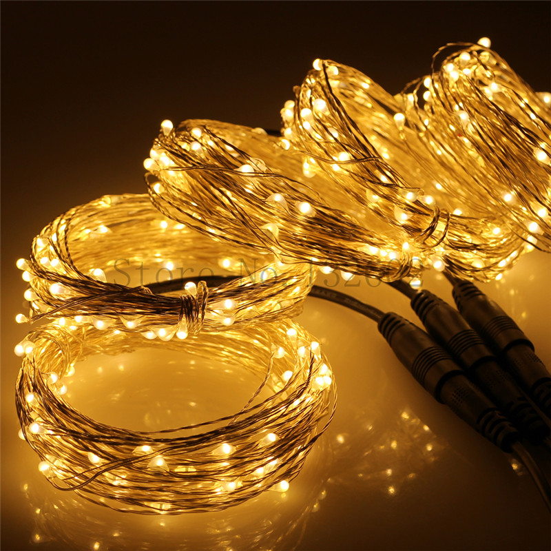 5pcs connectable 33Ft 100 LED string lights outdoor silver wire 500 LEDs Fairy light + power adapter (US,UK,EU,AU plug)