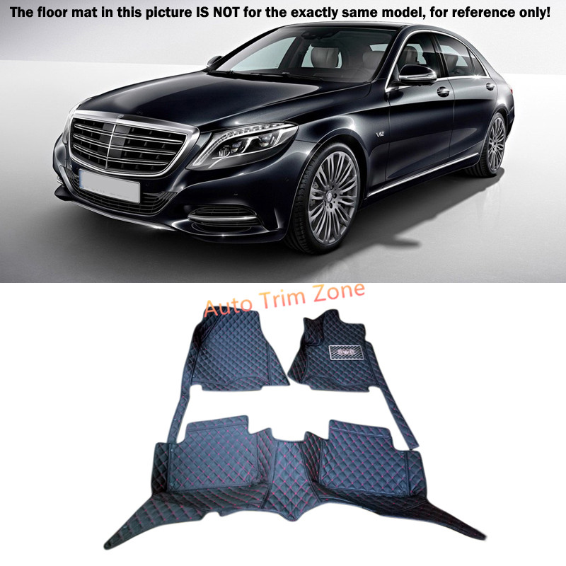 Black Interior Floor Mats & Carpet Foot Pad For Mercedes Benz S-Class 2014-2015 W222 car accessory steel exhaust cover outputs tail frame trim for mercedes benz s class w222 coupe s class amg auto parts 2010 2017