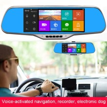 Best 7.0″ IPS Touch dvr mirror GPS Navigation Android 4.4 Rearview mirror wifi Car DVR Dual Camera 16G GPS camera parking e-dog