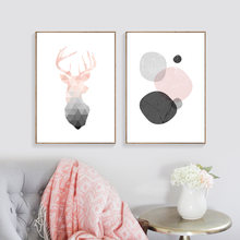 Deer Posters Nordic Abstract Painting Geometry Canvas Pictures For Living Room Home Decor Posters And Prints Canvas Art Unframed(China)