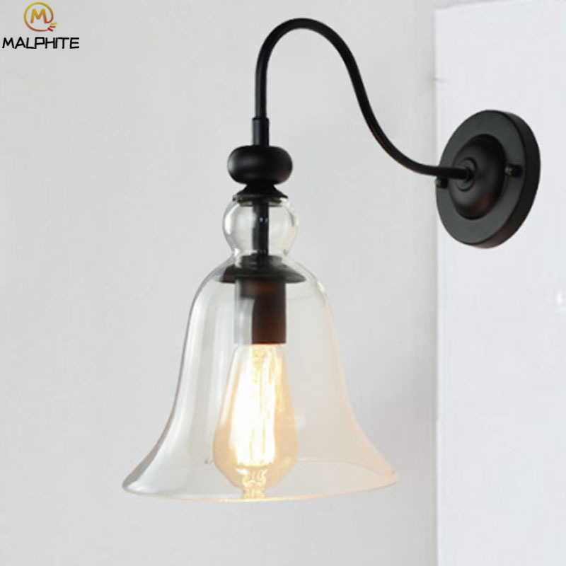 Modern Clear Glass Wall Lamp Simple Creative Aisle Corridor Decor Lamp Wall Living Room Hanging Bend Pipe Iron Bell LuminairesModern Clear Glass Wall Lamp Simple Creative Aisle Corridor Decor Lamp Wall Living Room Hanging Bend Pipe Iron Bell Luminaires