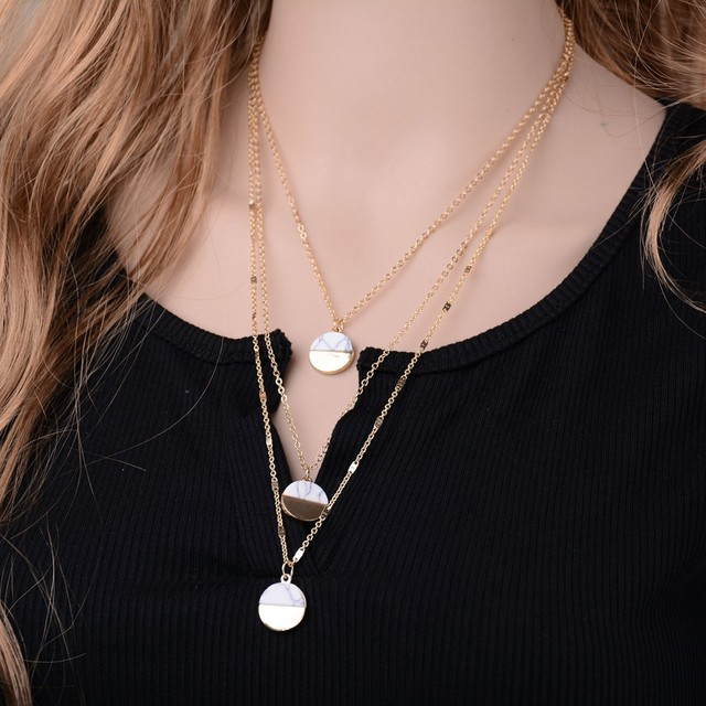 Simple Gold Multi Layer Round Faux Stone Chain Necklace