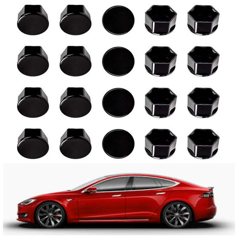 Voor Tesla Model 3 Wiel Moer Covers Lug Moer Covers-Glanzend Zwart