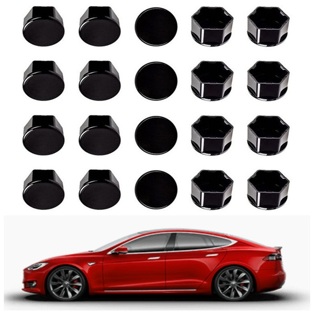 For Tesla Model 3 car nuts Wheel Nut Covers  Lug Nut Covers   Glossy Black car accessories wheel center hub cap cover nut bolt