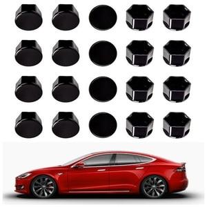 Image 1 - Для Tesla Model 3, автомобильные гайки, гайки для колес, чехлы для гаек глянцевые черные автомобильные аксессуары, колпачок для колес, болт для гаек