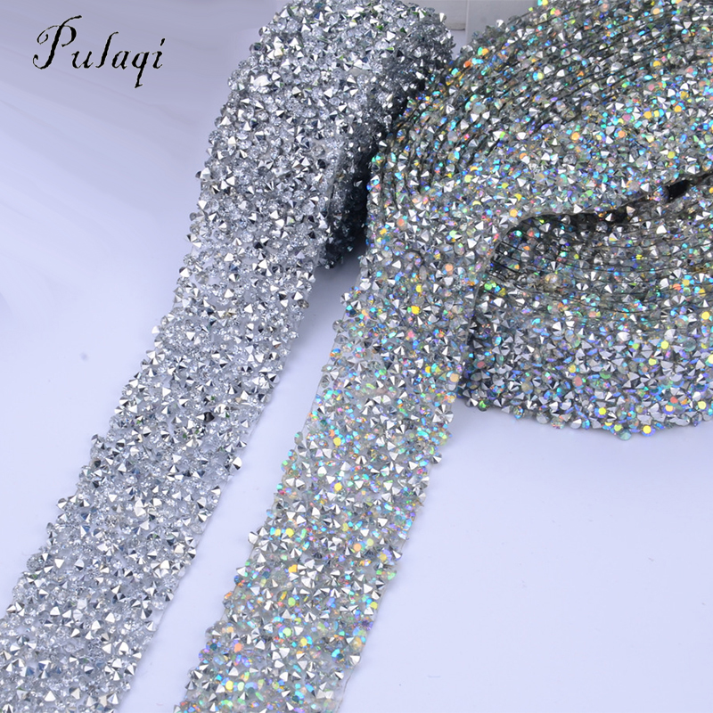 Pulaqi 1 Yard DIY Rhinestones Strass Crystal Chain Hot Fix Glitter Dress  Rhinestone Motifs Ribbon Hot-Fix Patches Applique D c9ce926ce548