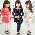 2015 Kids Spring girls long-sleeved dress Sequined collar dress pentagram stars Princess dress party dress